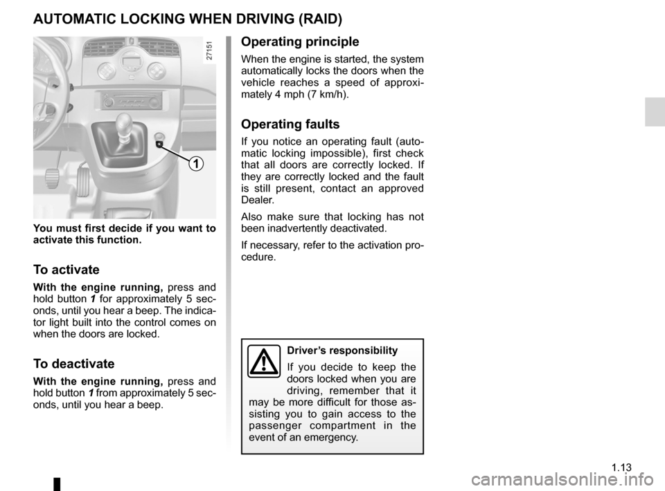 RENAULT KANGOO 2012 X61 / 2.G Owners Manual, Page 19