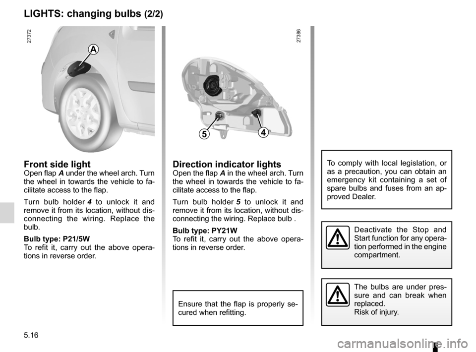 RENAULT KANGOO 2012 X61 / 2.G Owners Manual, Page 186