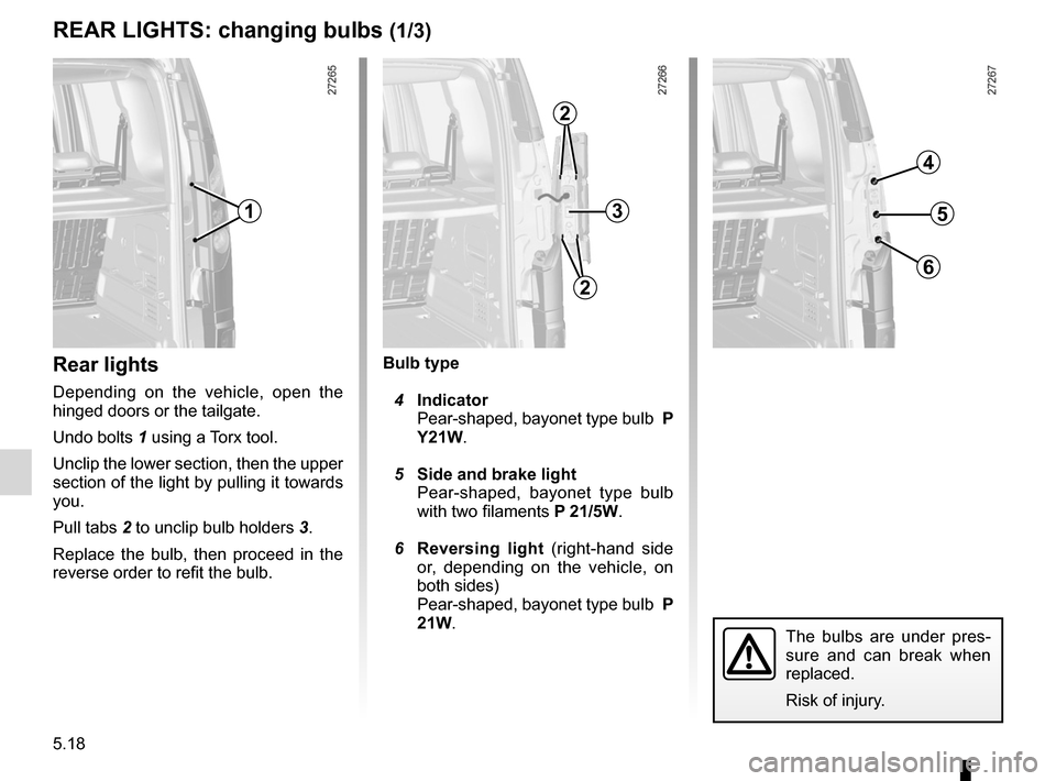 RENAULT KANGOO 2012 X61 / 2.G Owners Manual, Page 188