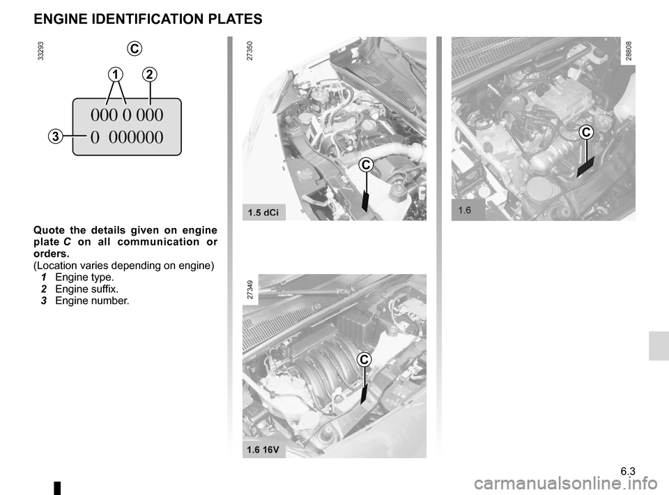 RENAULT KANGOO 2012 X61 / 2.G Owners Manual vehicle identification plates .................................... (current page) 6.3 ENG_UD26104_4 Plaques d'identification moteur (X61 - F61 - K61 - Renault) ENG_NU_813-11_FK61_Renault_6 Quote  th