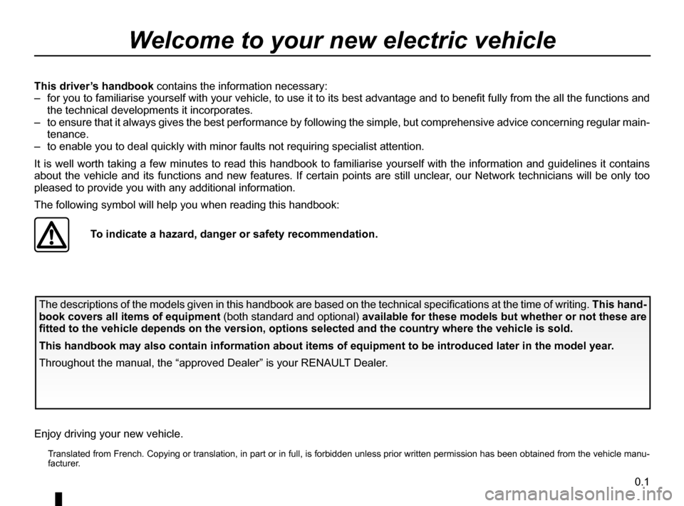 RENAULT KANGOO ZERO EMISSION 2012 X61 / 2.G Owners Manual, Page 2
