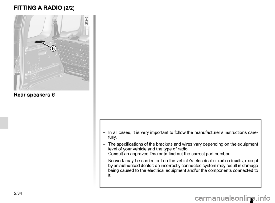 RENAULT KANGOO ZERO EMISSION 2012 X61 / 2.G Owners Manual, Page 183