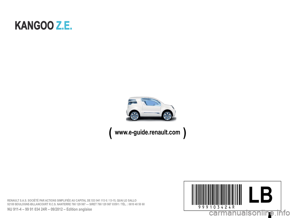 RENAULT KANGOO ZERO EMISSION 2012 X61 / 2.G Owners Manual, Page 213