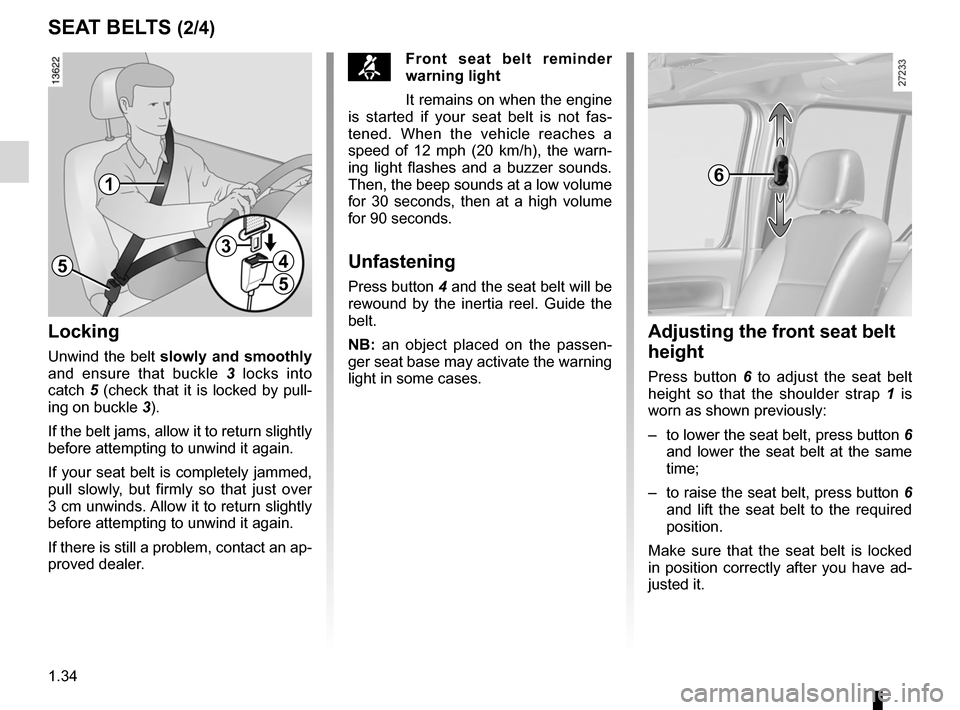 RENAULT KANGOO ZERO EMISSION 2012 X61 / 2.G Owners Manual, Page 39