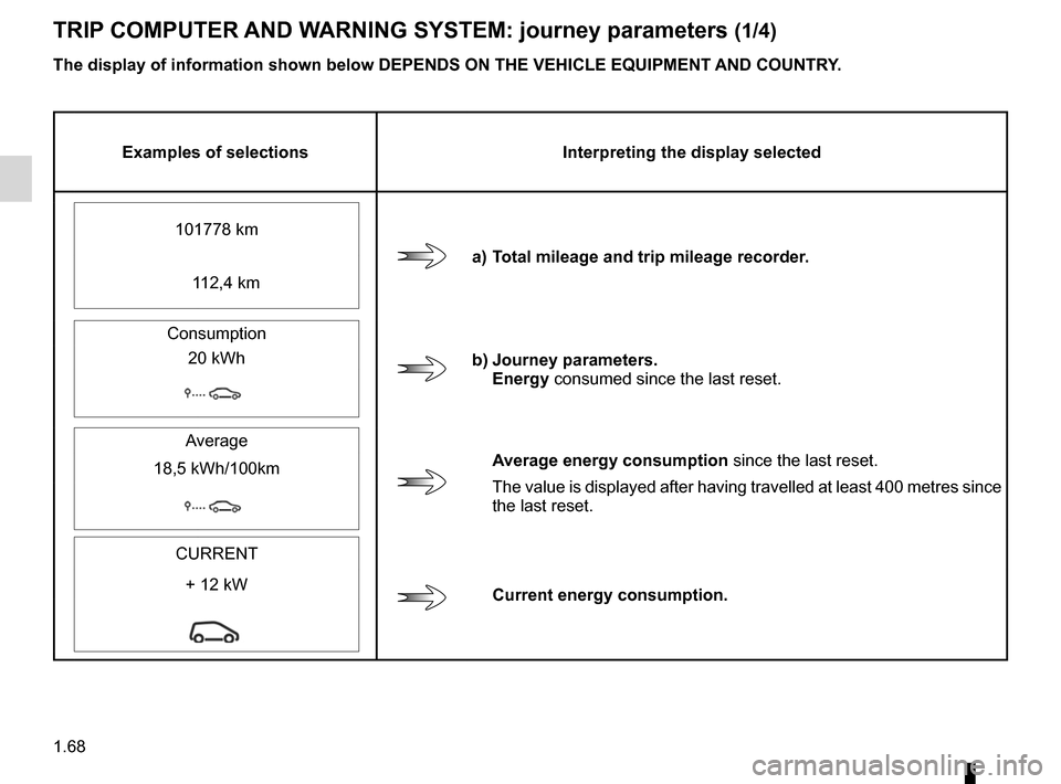 RENAULT KANGOO ZERO EMISSION 2012 X61 / 2.G Manual PDF control instruments ............................... (up to the end of the DU) instrument panel messages ..................(up to the end of the DU) trip computer and warning system ........(up to the