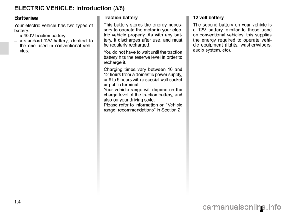 RENAULT KANGOO ZERO EMISSION 2012 X61 / 2.G Owners Manual, Page 9