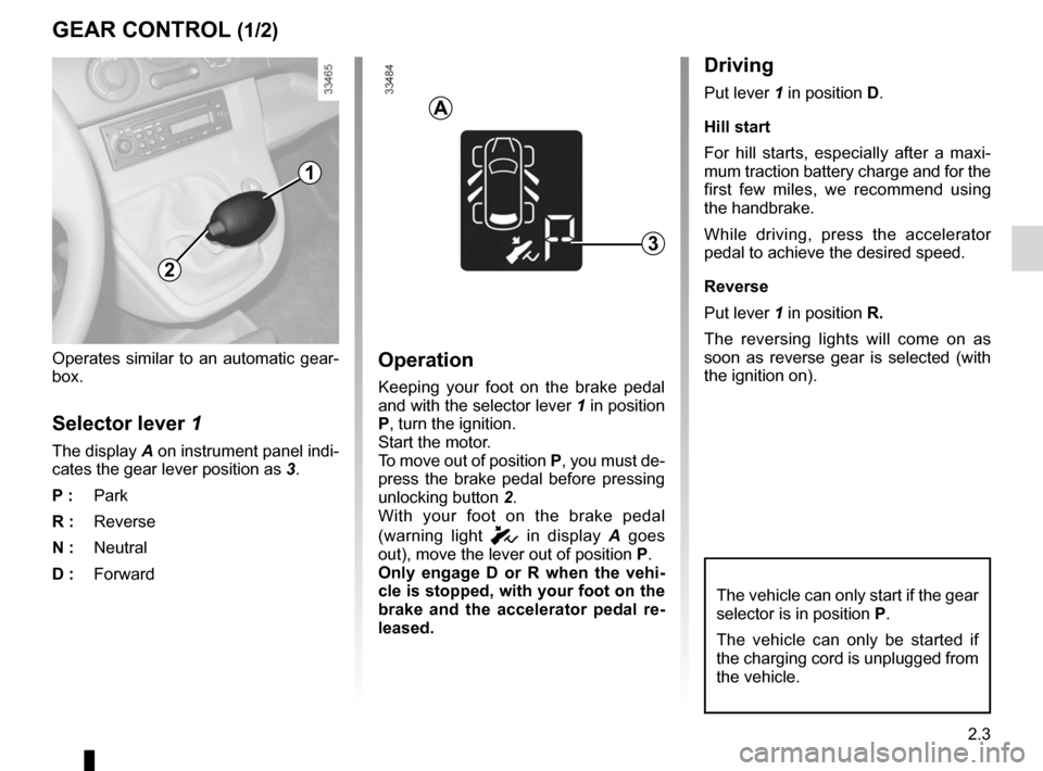 RENAULT KANGOO ZERO EMISSION 2012 X61 / 2.G Owners Manual, Page 94