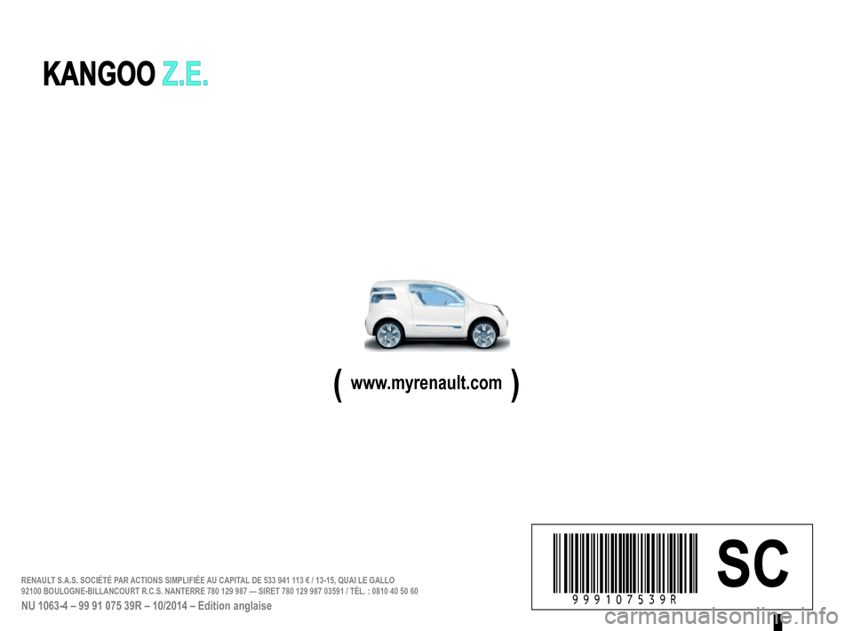 RENAULT KANGOO VAN ZERO EMISSION 2012 X61 / 2.G Owners Manual, Page 220