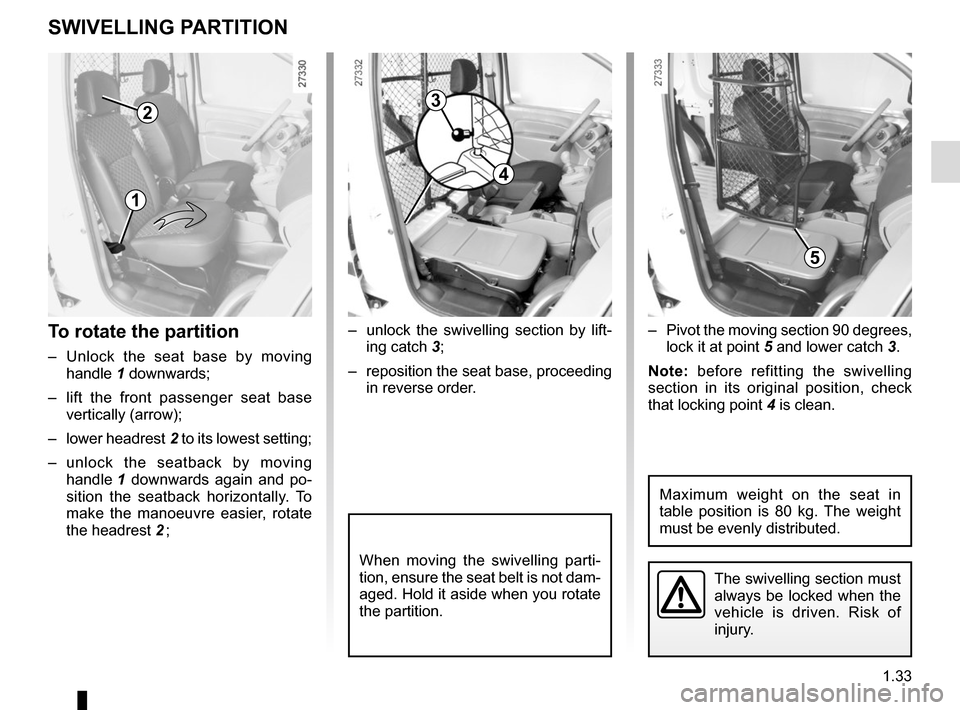 RENAULT KANGOO VAN ZERO EMISSION 2012 X61 / 2.G Owners Manual, Page 39