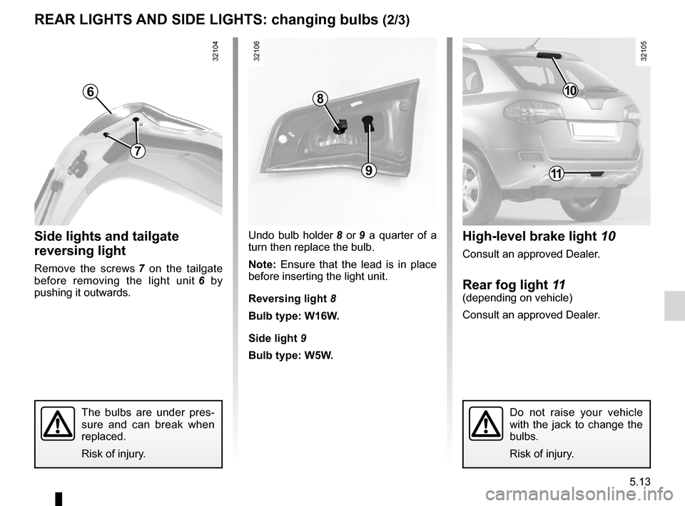 RENAULT KOLEOS 2012 1.G Owners Manual, Page 187