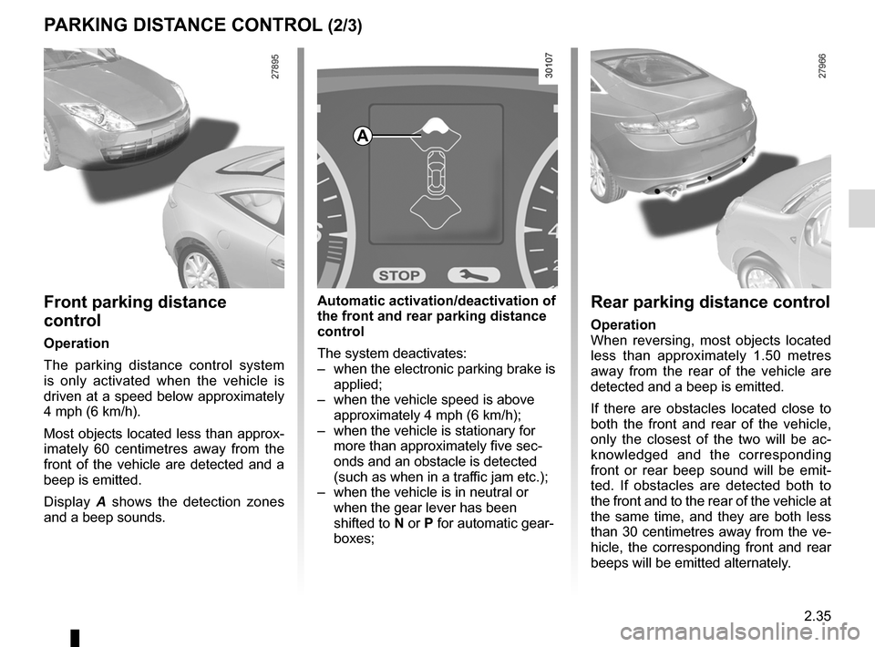RENAULT LAGUNA COUPE 2012 X91 / 3.G Owners Manual, Page 113