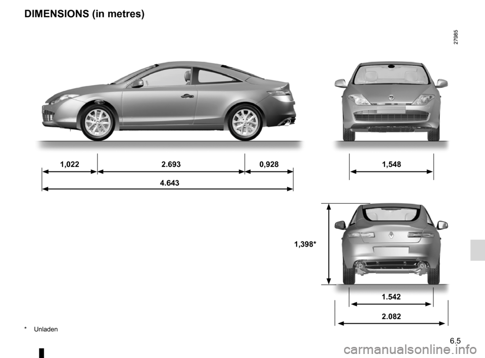 RENAULT LAGUNA COUPE 2012 X91 / 3.G Owners Manual, Page 199