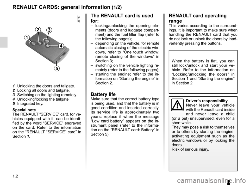 RENAULT LAGUNA COUPE 2012 X91 / 3.G Owners Manual, Page 8