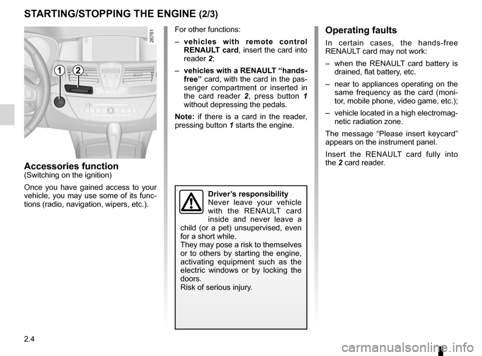 RENAULT LAGUNA COUPE 2012 X91 / 3.G Owners Manual, Page 82