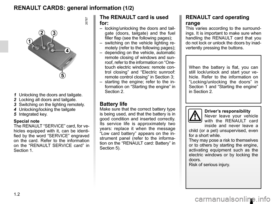 RENAULT LAGUNA TOURER 2012 X91 / 3.G Owners Manual, Page 8