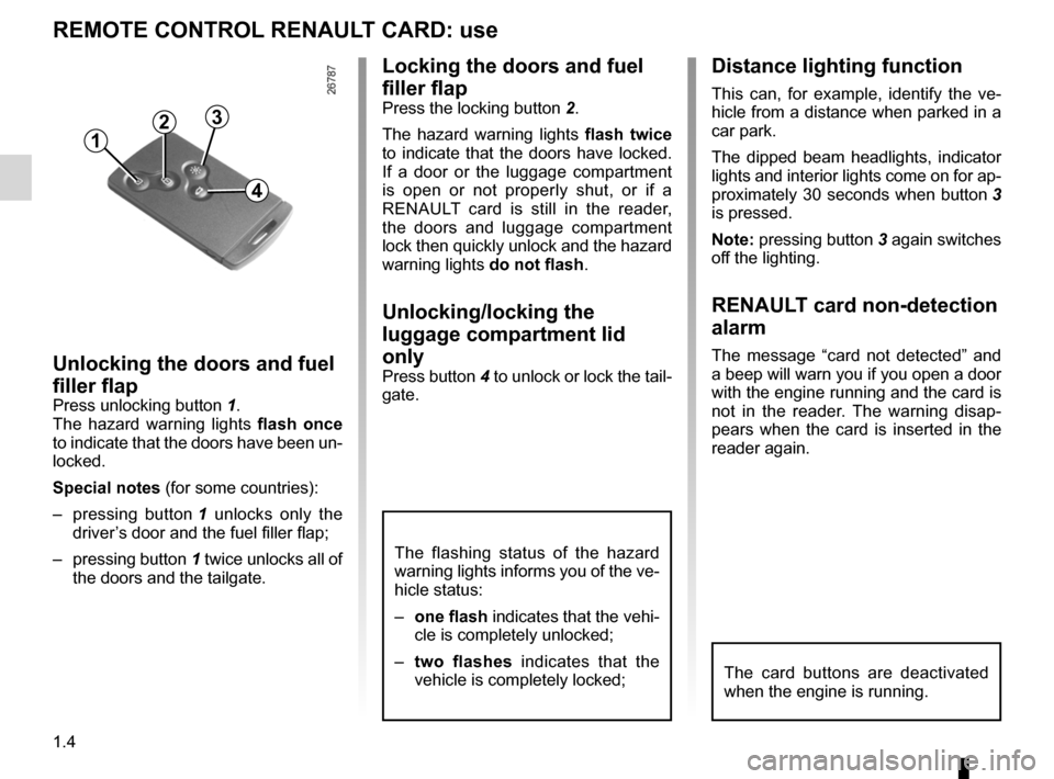 RENAULT LAGUNA TOURER 2012 X91 / 3.G Owners Manual, Page 10
