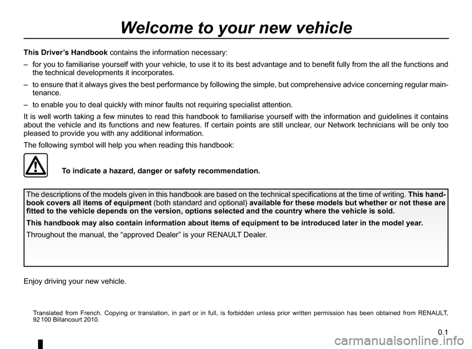 RENAULT MEGANE RS 2012 X95 / 3.G Owners Manual, Page 3