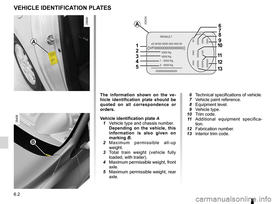 RENAULT MEGANE RS 2012 X95 / 3.G Owners Manual 6.2 ENG_UD14568_2 Plaques d'identification véhicule (X95 - B95 - D95 - K95 - Renaul