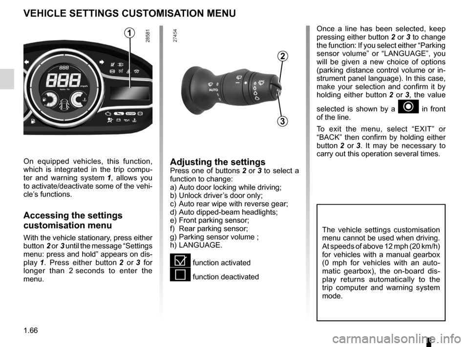 RENAULT MEGANE RS 2012 X95 / 3.G Manual PDF menu for customising the vehicle settings  (up to the end of the DU) customising the vehicle settings  ........... (up to the end of the DU) customised vehicle settings  .................. (up to the