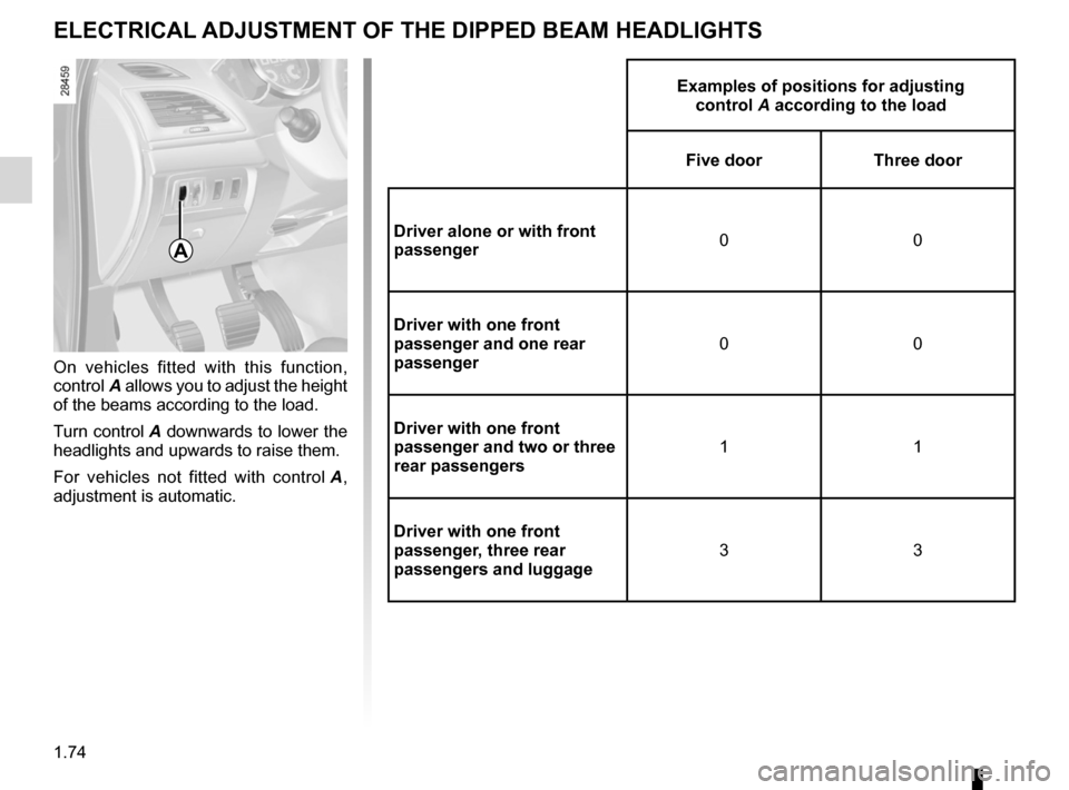 RENAULT MEGANE RS 2012 X95 / 3.G Manual PDF electric beam height adjustment ........... (up to the end of the DU) see-me-home lighting  ........................... (up to the end of the DU) lights: adjusting  ...................................