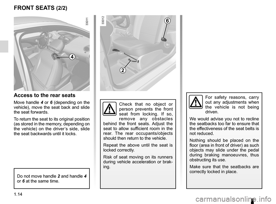 RENAULT TWINGO 2012 2.G Owners Manual, Page 20
