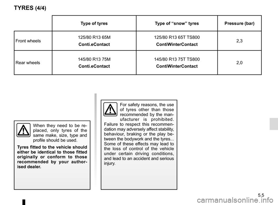 RENAULT TWIZY 2012 1.G Manual PDF 5.5 TYRES (4/4) When they need to be re- placed, only tyres of the  same make, size, type and  profile should be used. Tyres fitted to the vehicle should  either be identical to those fitted  original