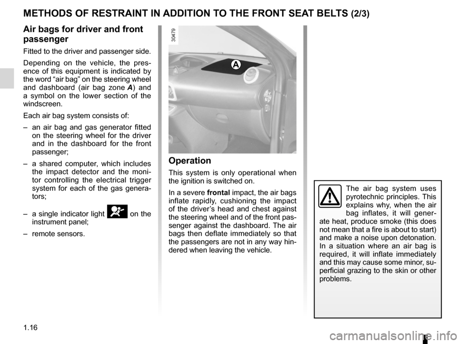 RENAULT WIND 2012 1.G Owners Manual, Page 22