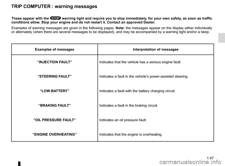 RENAULT WIND 2012 1.G Workshop Manual 1.47 ENG_UD24363_1 Ordinateur de bord : messages d'alerte   (E33 - X33 - Renault) ENG_NU_865-6_E33_Renault_1 These appear with the ®  warning light and require you to stop immediately, for your own