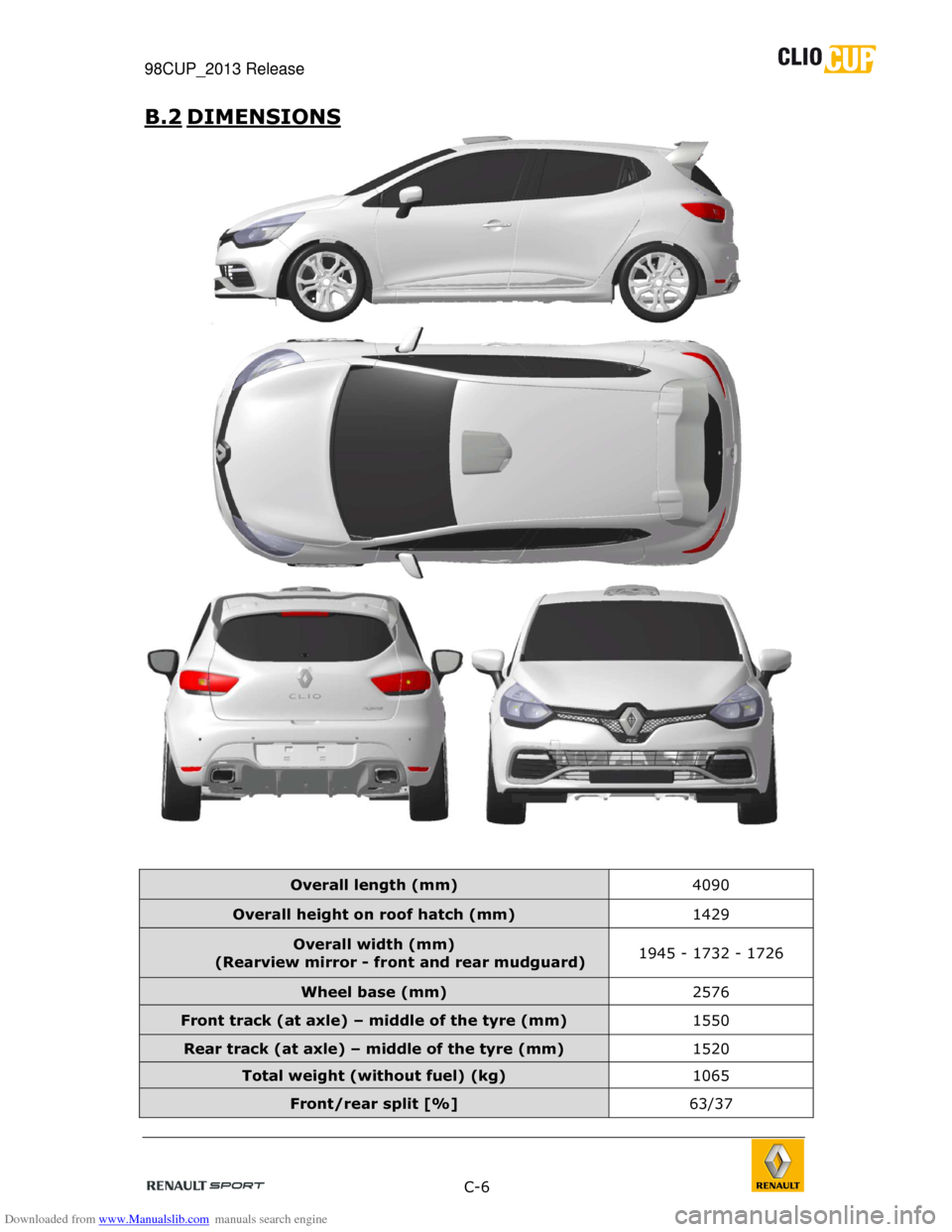 RENAULT CLIO CUP 2013 X85 / 3.G User Manual, Page 6