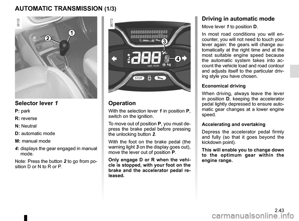 RENAULT CAPTUR 2014 1.G Owners Manual, Page 123