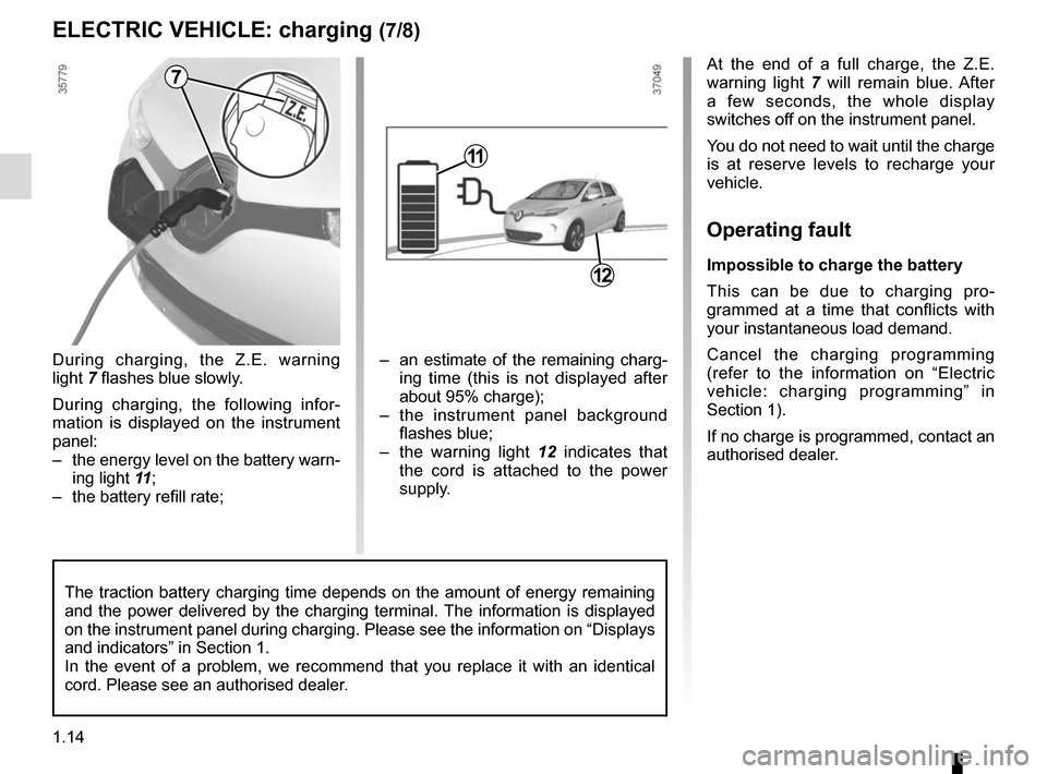 RENAULT ZOE 2014 1.G Owners Manual, Page 20