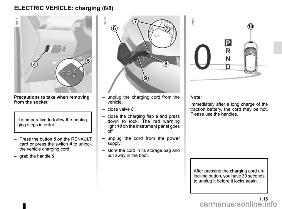 RENAULT ZOE 2014 1.G Owners Manual 1.15 –  unplug the charging cord from the vehicle; – close valve  8; –  close the charging flap  6 and press  down to lock. The red warning  light  10 on the instrument panel goes  off; – unpl