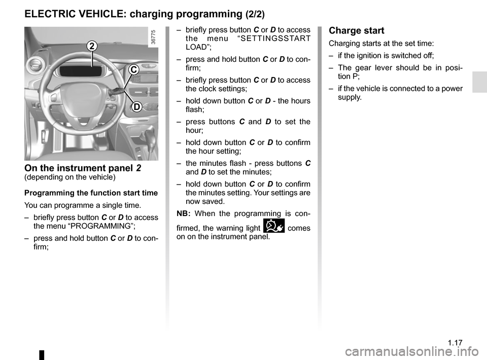 RENAULT ZOE 2014 1.G Owners Manual 1.17 Charge start Charging starts at the set time: –  if the ignition is switched off; –  The gear lever should be in posi-tion P; –  if the vehicle is connected to a power  supply. ELECTRIC VEH