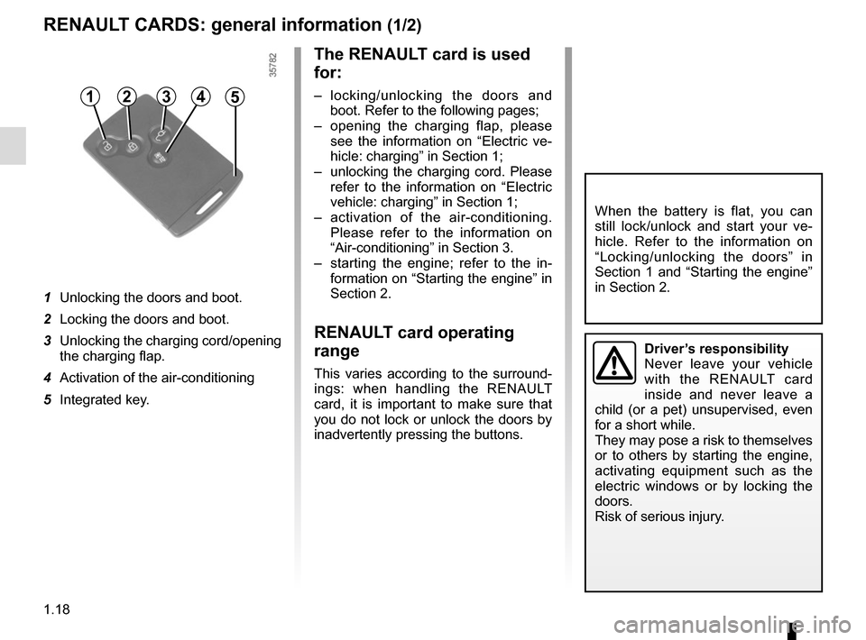RENAULT ZOE 2014 1.G Owners Manual 1.18 RENAULT CARDS: general information (1/2) 1  Unlocking the doors and boot. 2  Locking the doors and boot. 3  Unlocking the charging cord/opening the charging flap. 4  Activation of the air-conditi