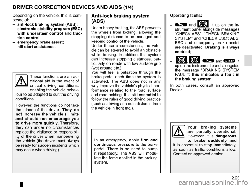 RENAULT CLIO 2015 X98 / 4.G Owners Manual, Page 113