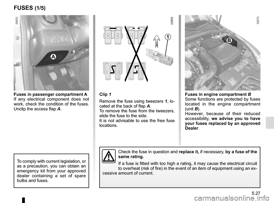 RENAULT CLIO 2015 X98 / 4.G Owners Manual 5.27 Clip 1 Remove the fuse using tweezers  1, lo- cated at the back of flap A. To remove the fuse from the tweezers,  slide the fuse to the side. It is not advisable to use the free fuse  locations.F