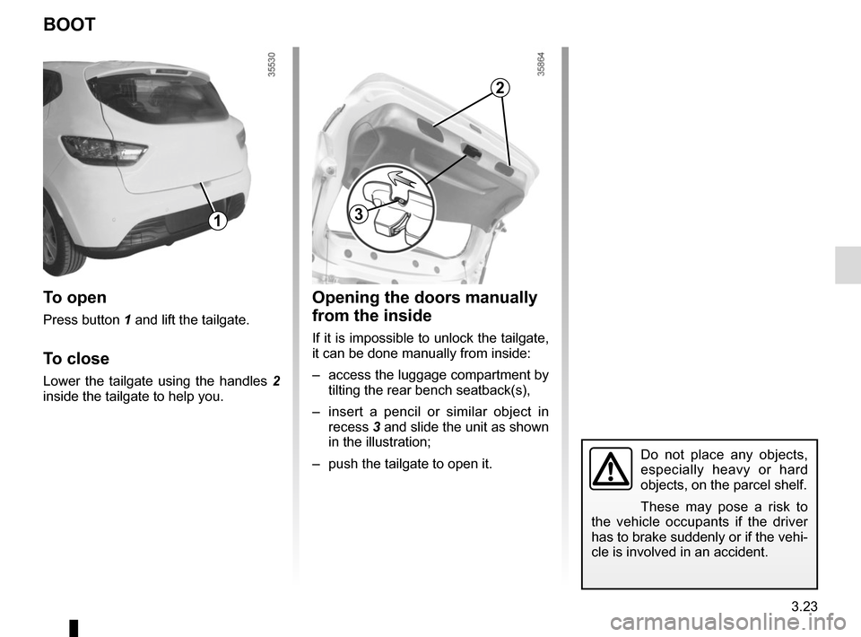 RENAULT CLIO SPORT TOURER 2015 X98 / 4.G Owners Manual, Page 153