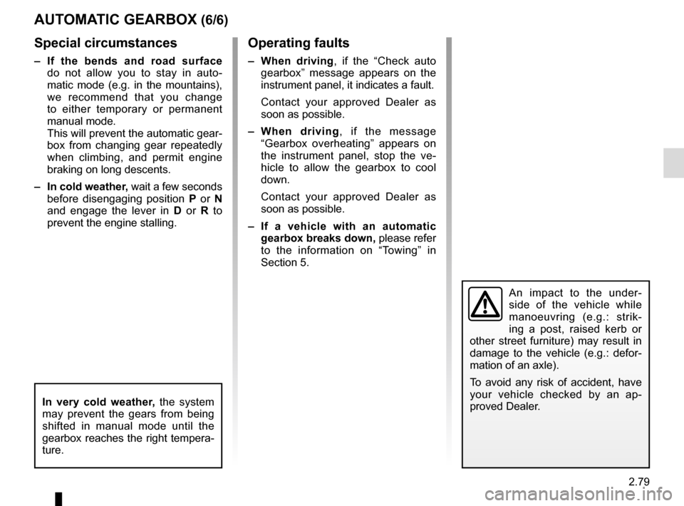 RENAULT ESPACE 2015 5.G Owners Manual, Page 191