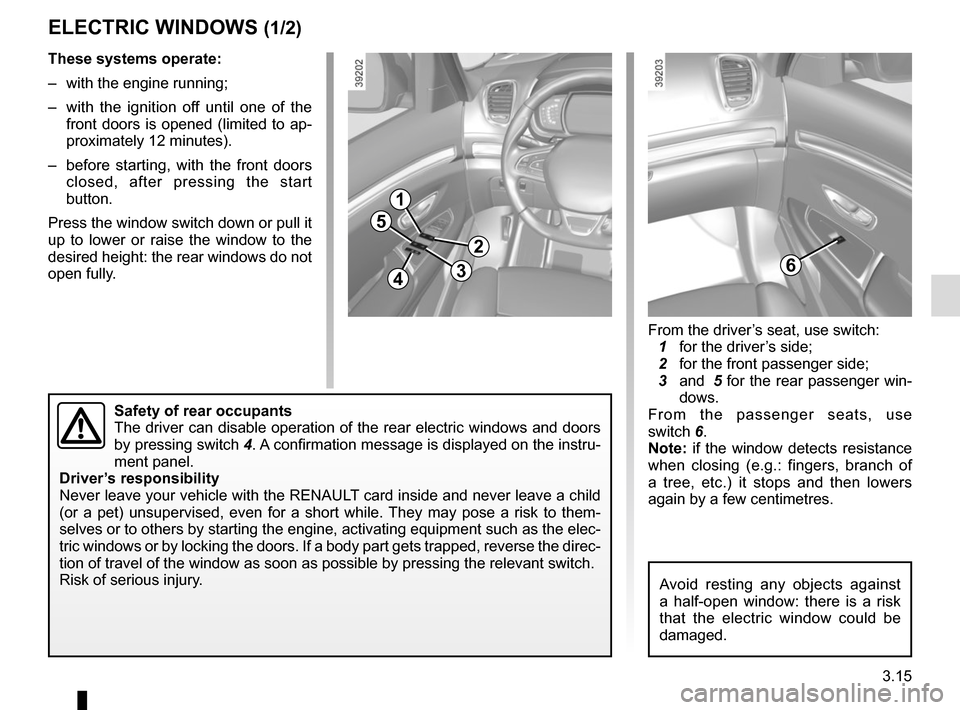 RENAULT ESPACE 2015 5.G Owners Manual, Page 207