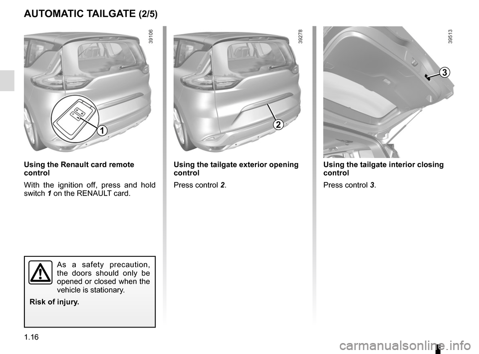 RENAULT ESPACE 2015 5.G Owners Manual, Page 22