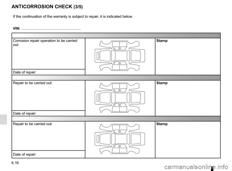 RENAULT ESPACE 2015 5.G Owners Manual 6.16 ANTICORROSION CHECK (3/5) If the continuation of the warranty is subject to repair, it is indicated below. VIN: .......................................................... Corrosion repair operati