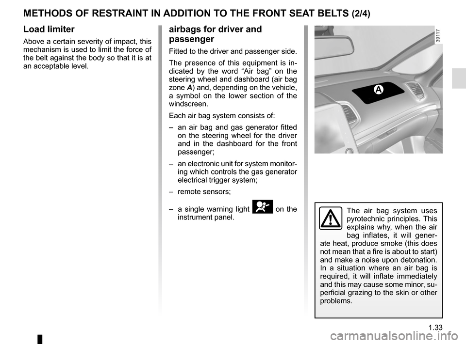 RENAULT ESPACE 2015 5.G Owners Manual, Page 39