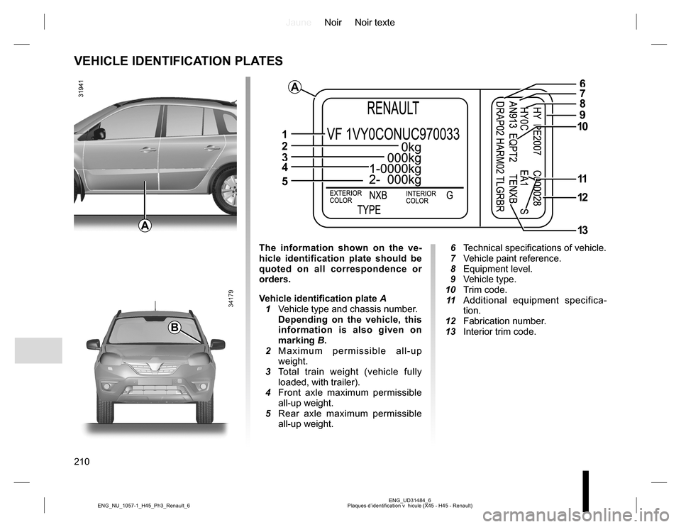 RENAULT KOLEOS 2015 1.G Owners Manual, Page 210