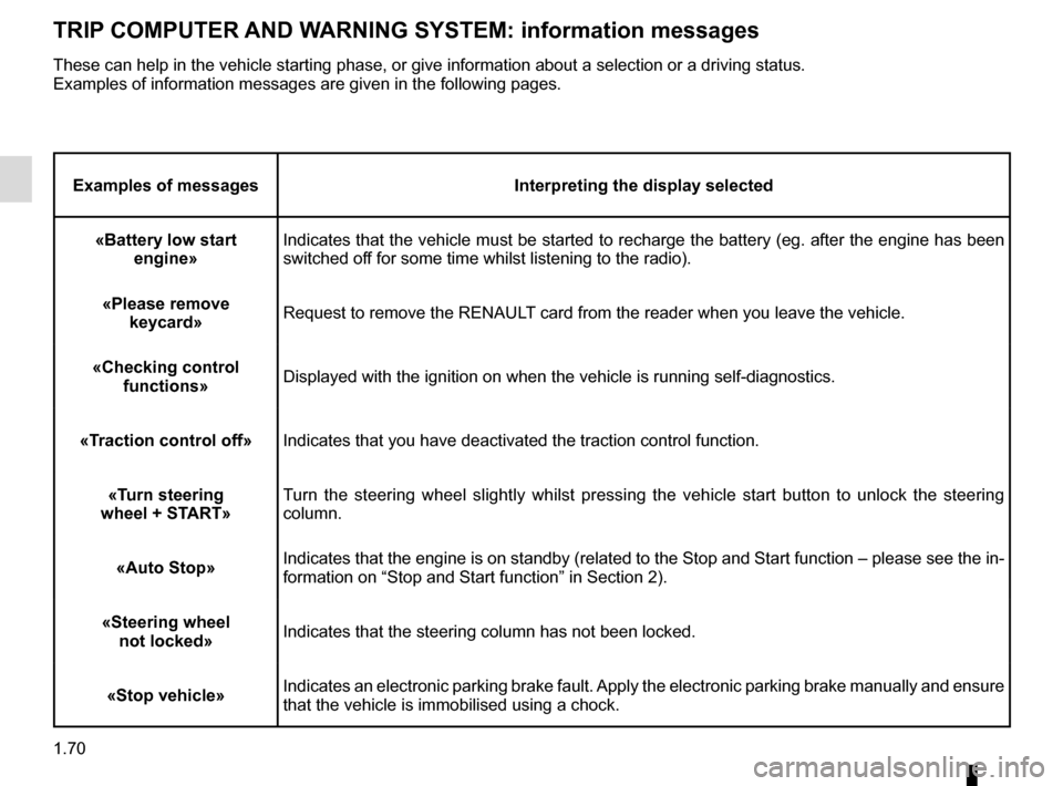 RENAULT MEGANE HATCHBACK 2015 X95 / 3.G Manual PDF 1.70 TRIP COMPUTER AND WARNING SYSTEM: information messages Examples of messagesInterpreting the display selected «Battery low start  engine» Indicates that the vehicle must be started to recharge t
