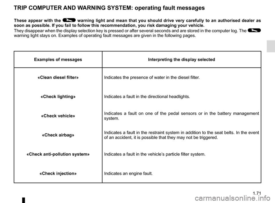 RENAULT MEGANE HATCHBACK 2015 X95 / 3.G Manual PDF 1.71 TRIP COMPUTER AND WARNING SYSTEM: operating fault messages These appear with the © warning light and mean that you should drive very carefully to an author