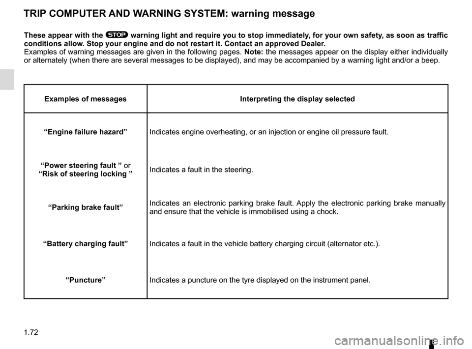 RENAULT MEGANE HATCHBACK 2015 X95 / 3.G Manual PDF 1.72 TRIP COMPUTER AND WARNING SYSTEM: warning message These appear with the ® warning light and require you to stop immediately, for your own safety, as soon as traffic  conditions allow. Stop your