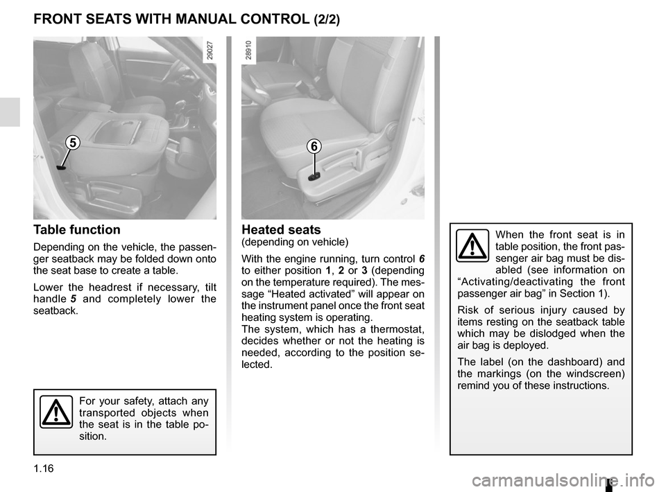 RENAULT SCENIC 2015 J95 / 3.G Owners Manual, Page 22