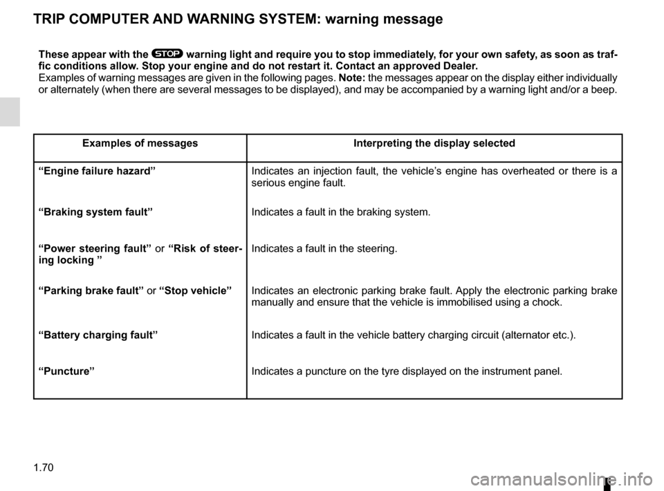 RENAULT SCENIC 2015 J95 / 3.G Manual PDF 1.70 TRIP COMPUTER AND WARNING SYSTEM: warning message These appear with the ® warning light and require you to stop immediately, for your own safety, as soon as traf- fic conditions allow. Stop your