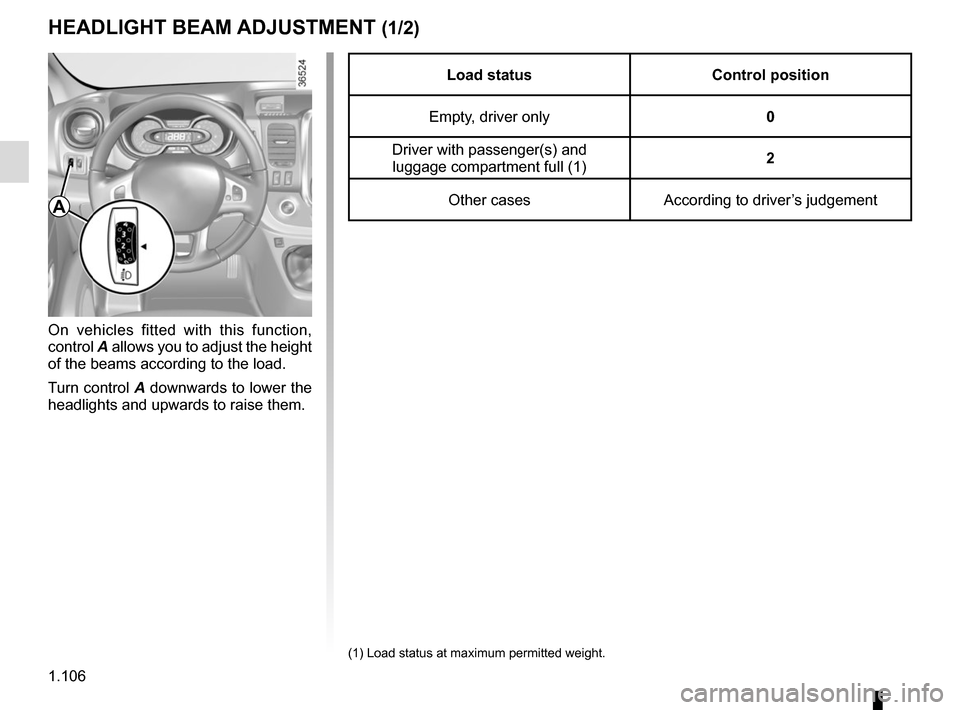 RENAULT TRAFIC 2015 X82 / 3.G Owners Manual, Page 112