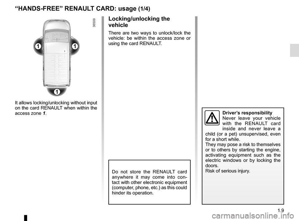 RENAULT TRAFIC 2015 X82 / 3.G Owners Manual, Page 15